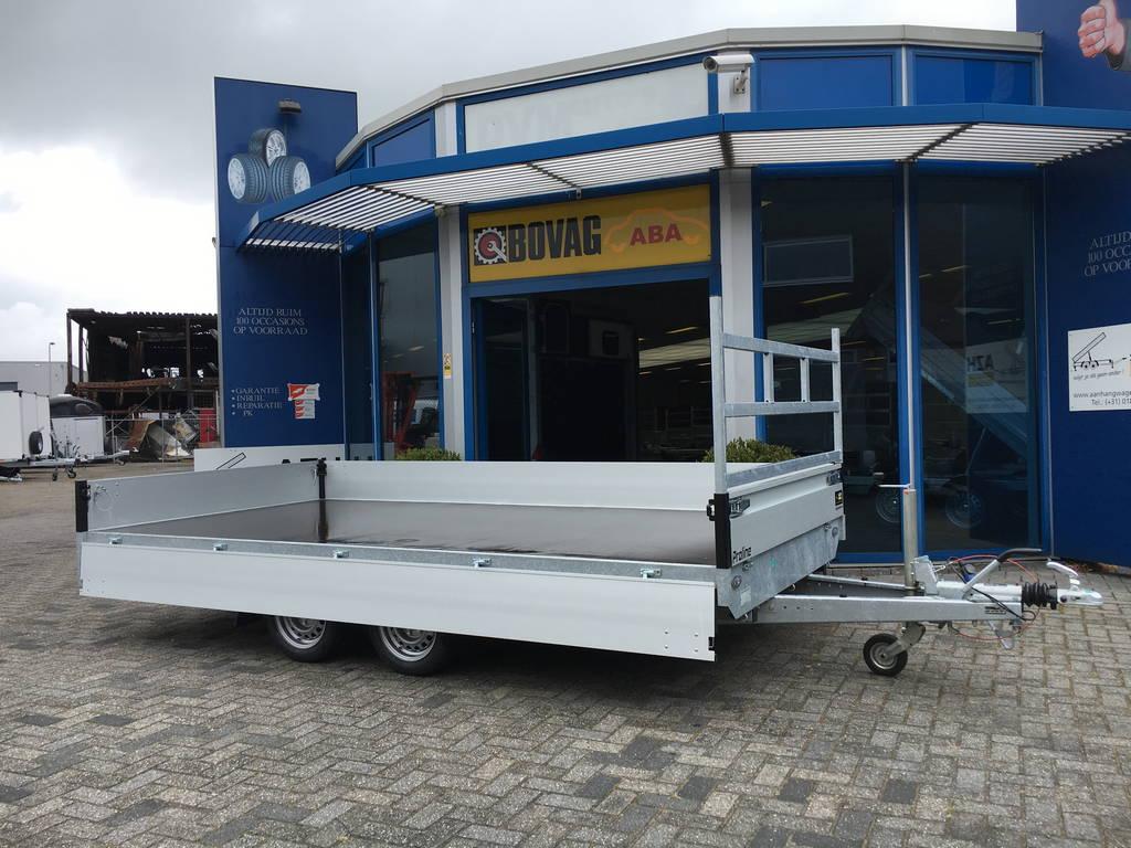 Proline verlaagd 401x202cm 3500kg plateauwagens Aanhangwagens Zuid-Holland 2.0 zijkant vlak