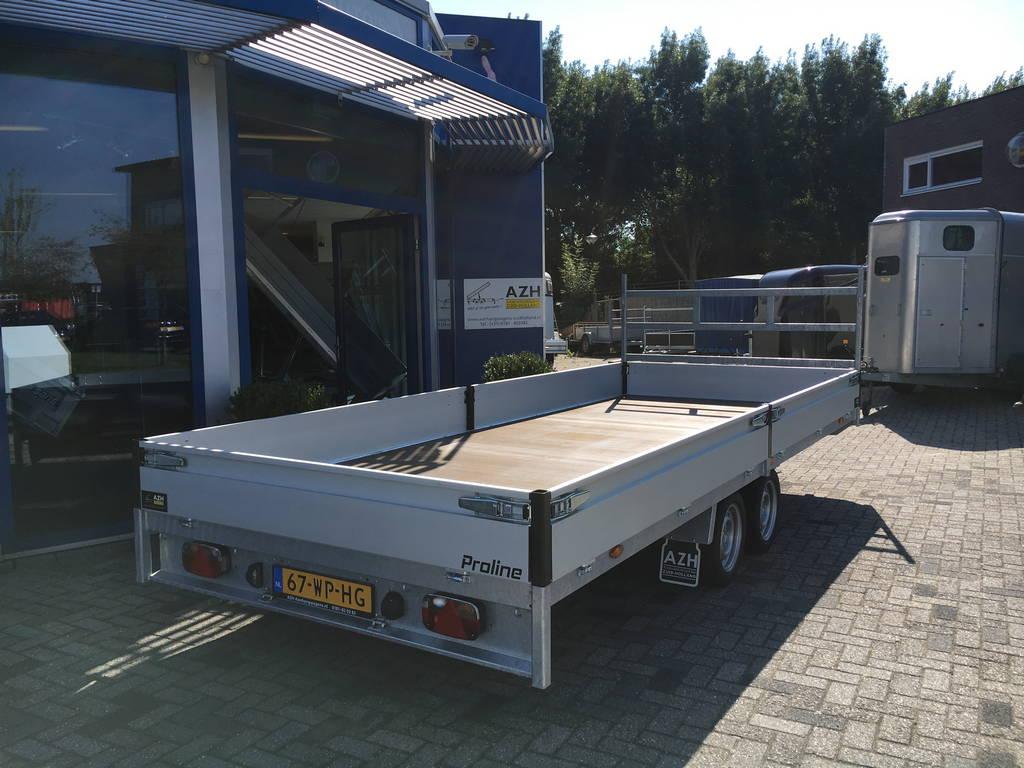 Proline verlaagd 503x202cm 3500kg plateauwagens Aanhangwagens Zuid-Holland schuin achter 2.0
